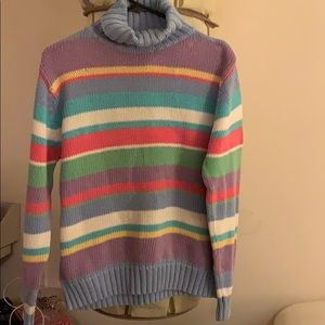 Colorful woven turtleneck sweater